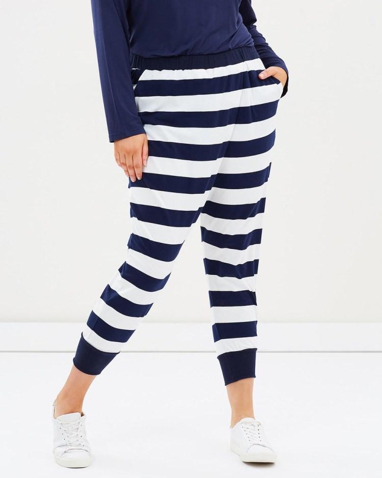 Advocado Plus Wrap Cropped Pants Navy Stripe