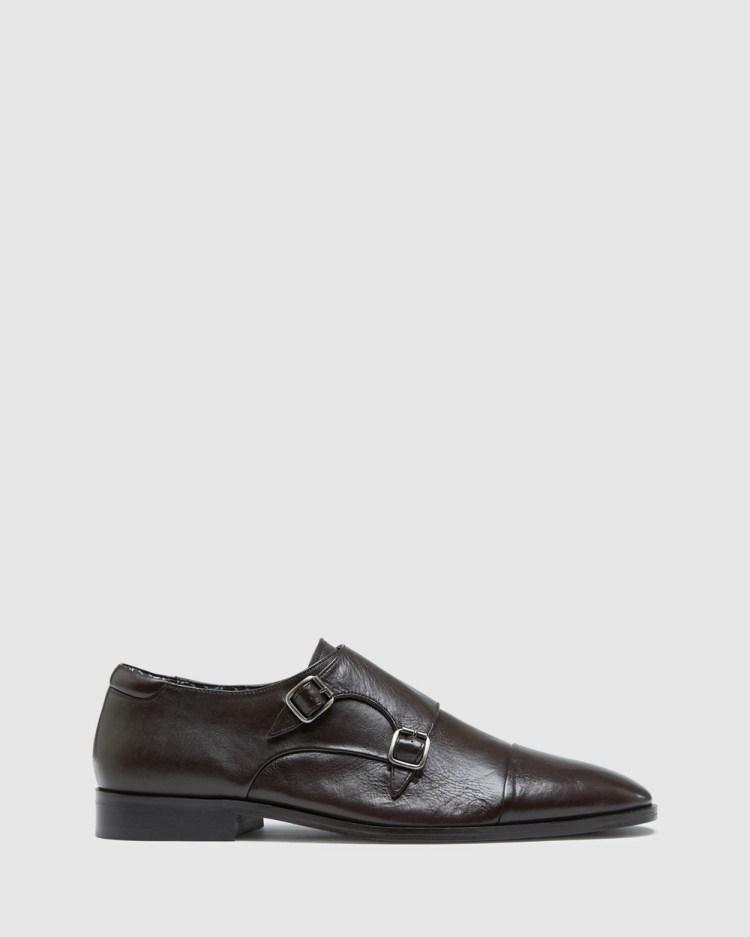 Oxford Jian Leather Monk Shoes Dress Brown