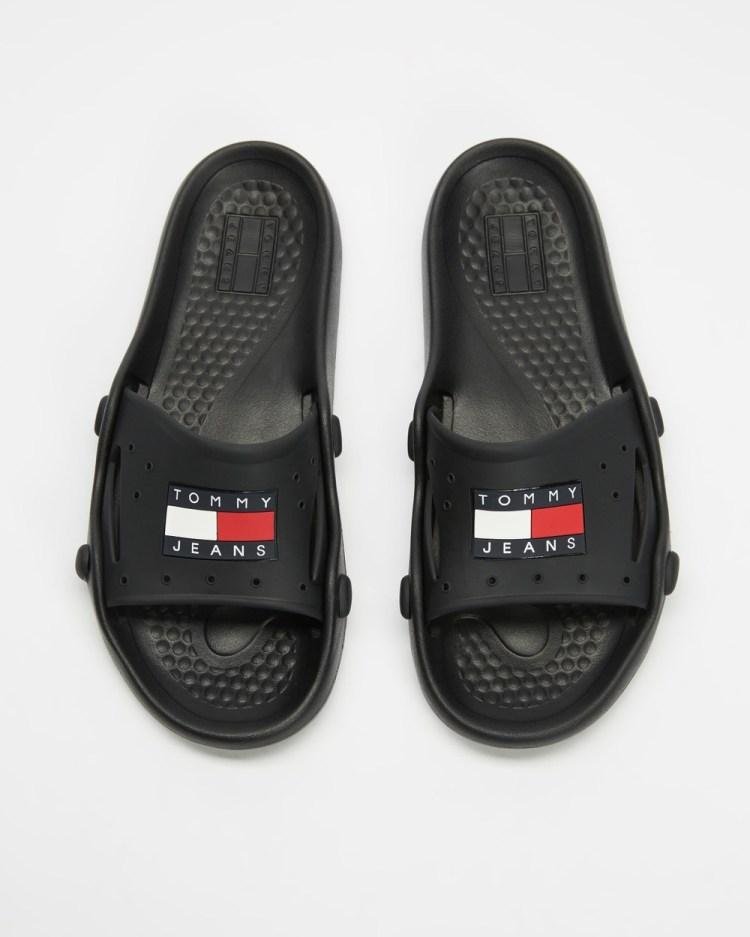 Tommy Hilfiger Heritage Jeans Poolslides Mens Casual Shoes Black