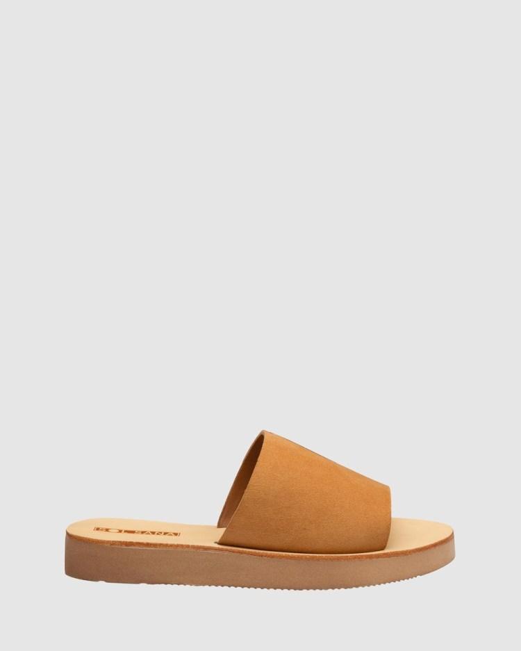 Sol Sana Tara Slides Sandals Toffee Suede