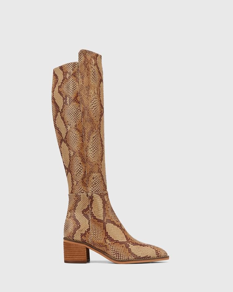 Wittner Joslyn Leather Block Heel Long Boots Knee-High Prints