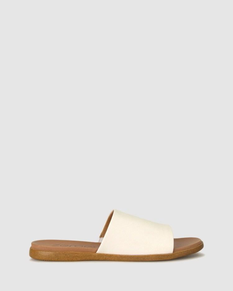 Zeroe Sofia Flat Mule Sandals Flats White