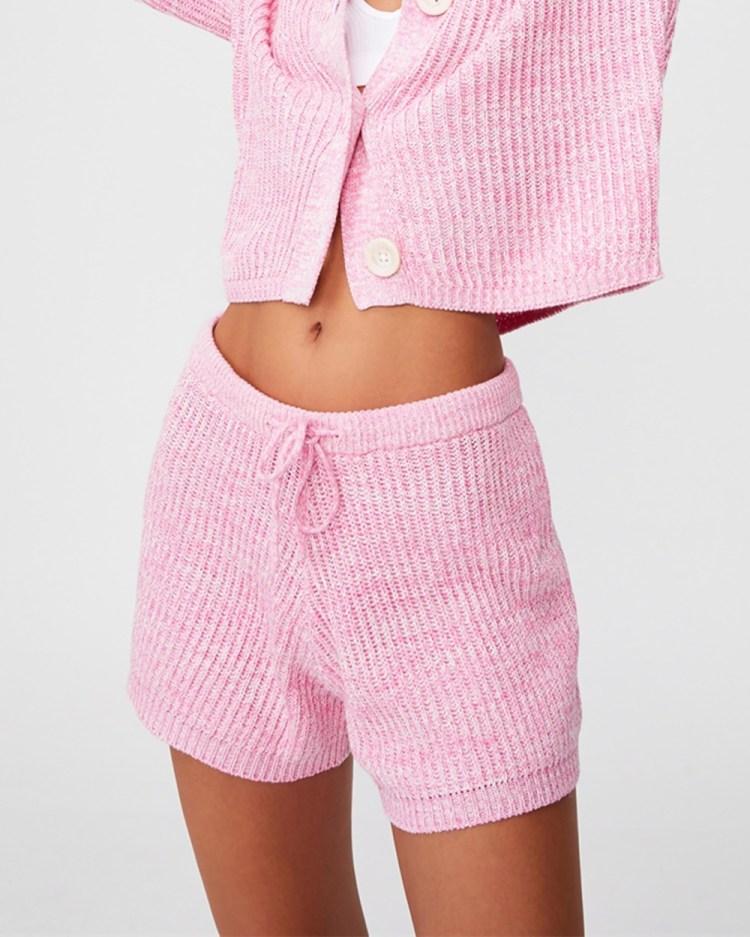 Cotton On Body Organic Knit Lounge Shorts High-Waisted Primrose Marle