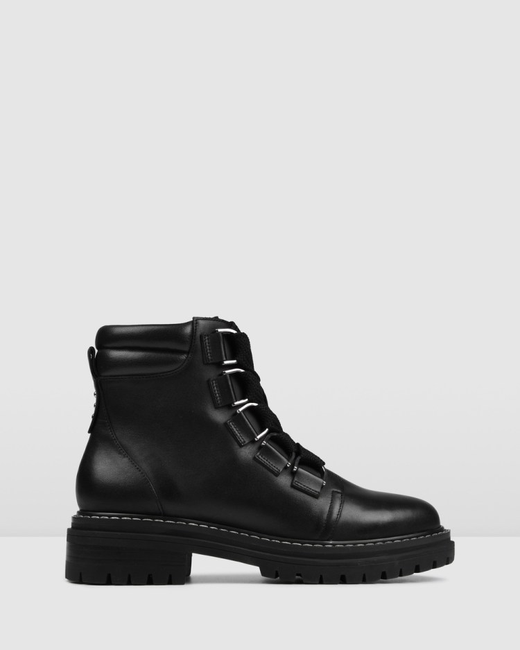 Jo Mercer Blakely Flat Ankle Boots BLACK LEATHER