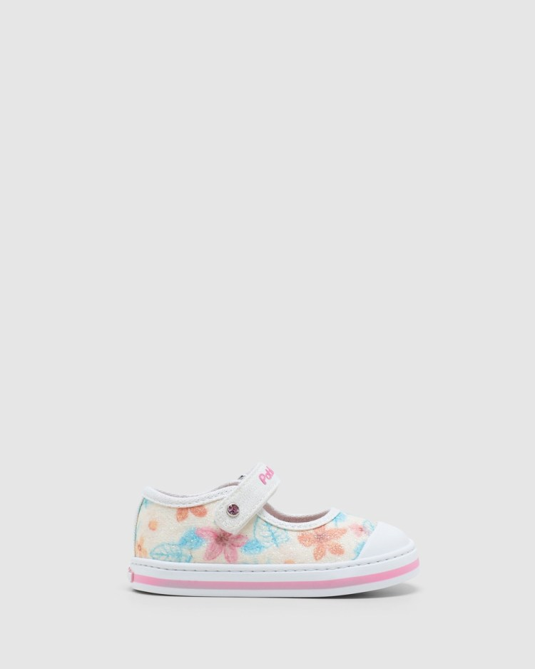 Pablosky Floral Canvas Mary Jane 9614 Infant Sneakers White Glitter