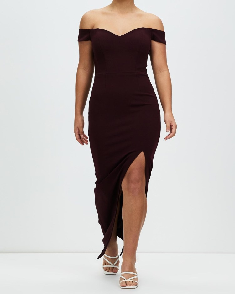 Romance by Honey and Beau Shine Off The Shoulder Maxi Dresses Burgundy Off-The-Shoulder