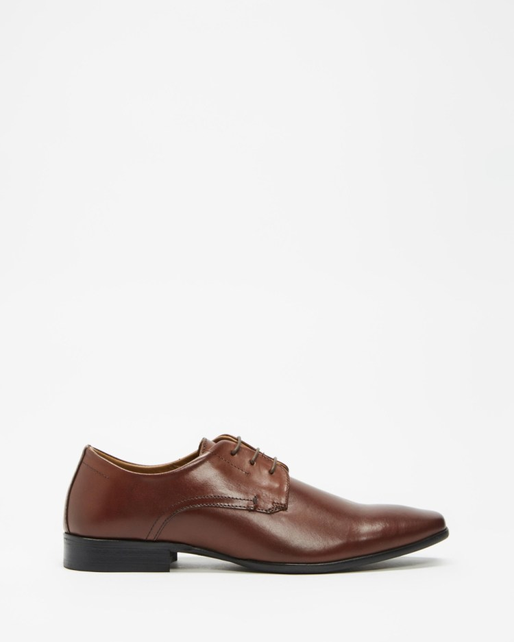 Double Oak Mills Charles Leather Derby Dress Shoes Dark Brown