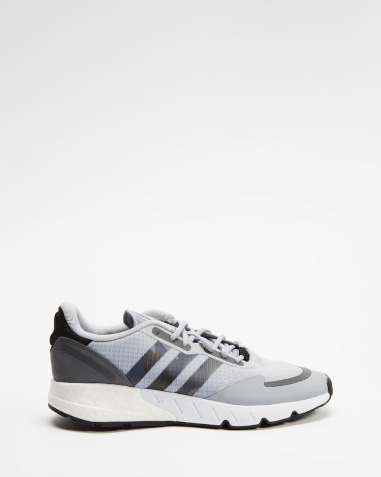 adidas Originals ZX 1K Boost Sneakers Mens Lifestyle Halo Silver, Core Black & Grey Five