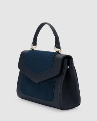 Olga Berg - Markle Vegan Suede and Pebble Top Handle - Handbags (Navy) Markle Vegan Suede and Pebble Top Handle