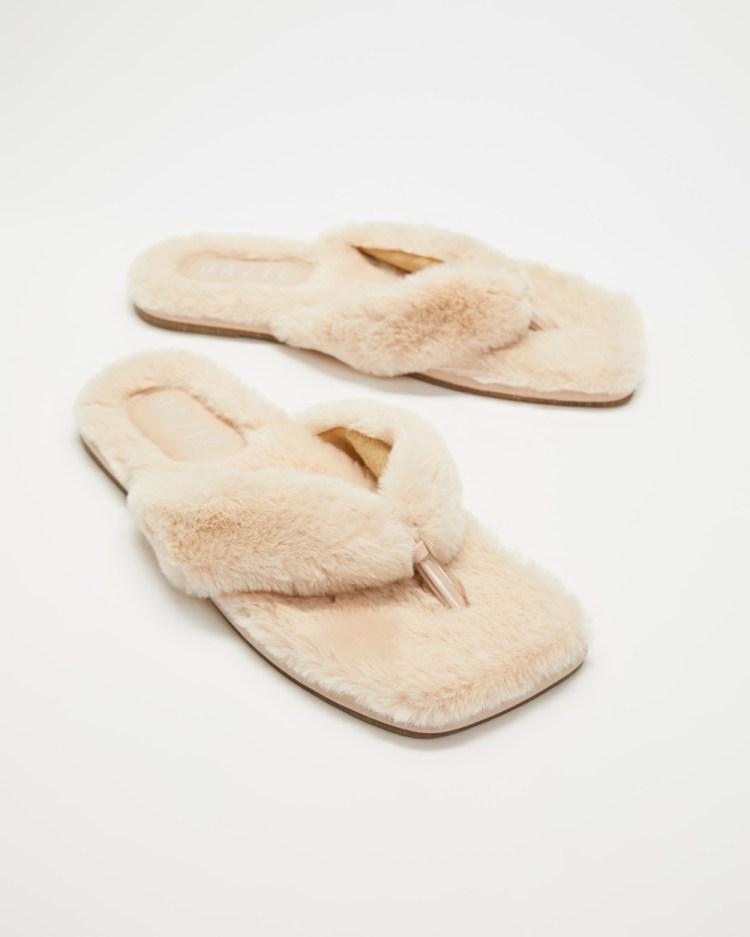 Dazie Fuzzy Slippers & Accessories Natural