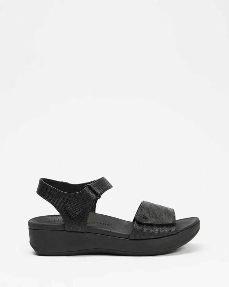 Vionic Raz Metallic Wedge Sandals Wedges Black