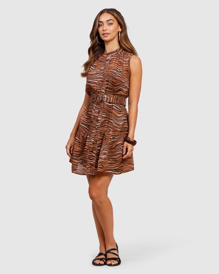 Ministry of Style Tigress Mini Dress Printed Dresses brown
