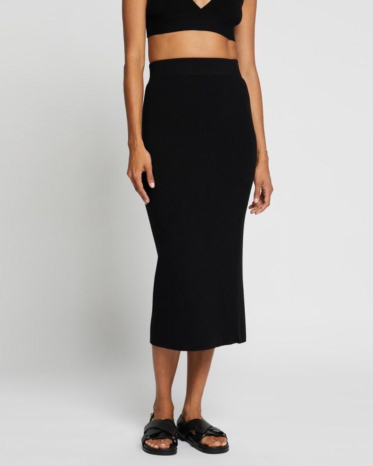 AERE Ribbed Midi Skirt Skirts Black