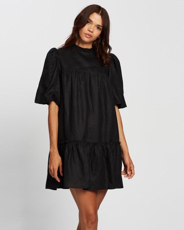 AERE Smock Linen Mini Dress Dresses Black