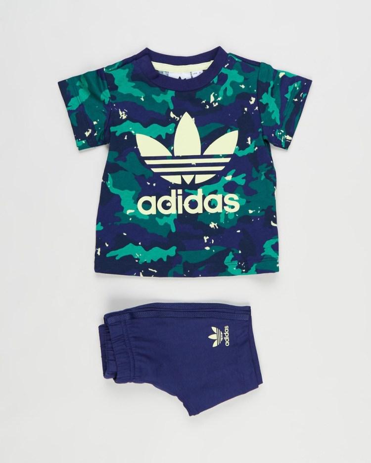 adidas Originals Allover Print Camo Short & Tee Set Babies Kids Shorts Night Sky Multicolour Babies-Kids