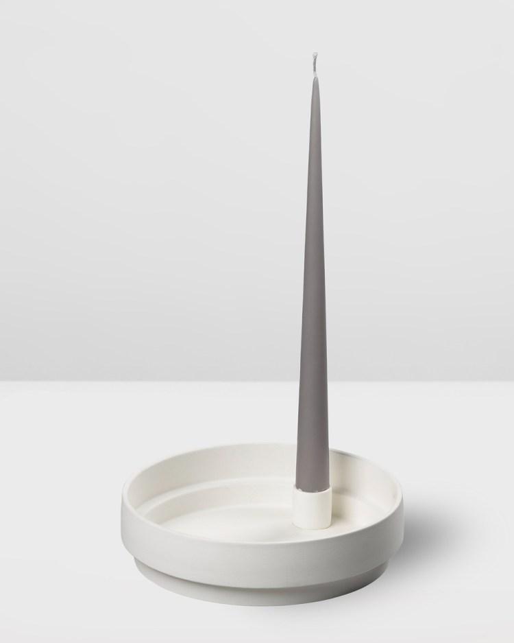 Aery Living Orbital Step Ceramic Candle Holder Large Home White