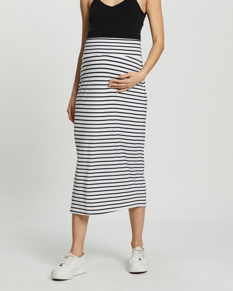 Angel Maternity Midi Skirt Pencil skirts Cream Stripes
