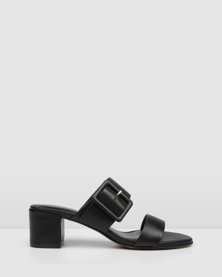 Jo Mercer Rain Low Slides Sandals BLACK LEATHER