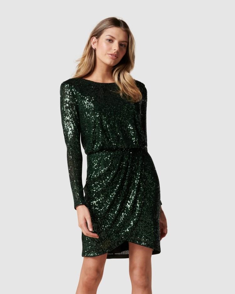 Forever New Juniper Sequin Wrap Mini Dress Bridesmaid Dresses Dark Green