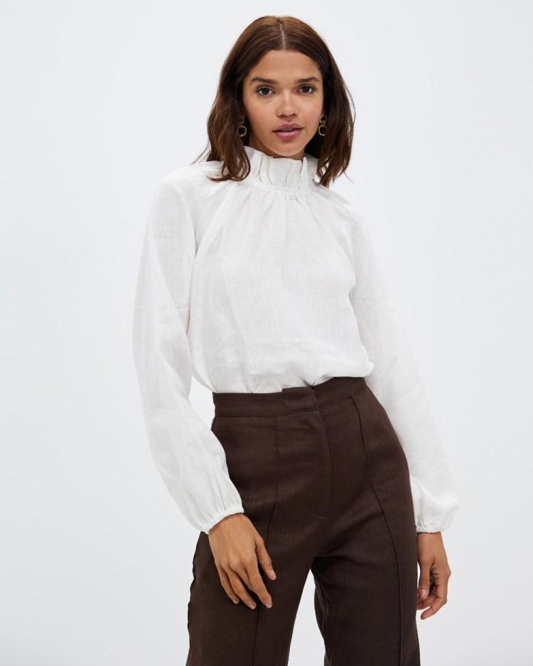 AERE High Neck Linen Blouse Tops White