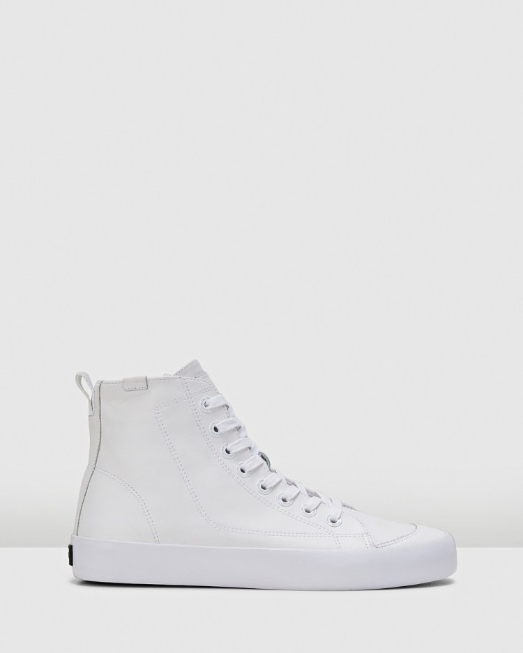 Volley Deuce Leather High Top Sneakers White Leather