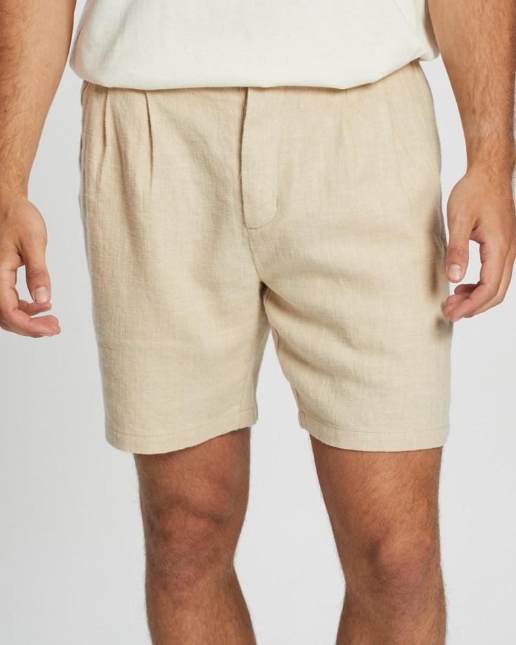 AERE Pleated Short Shorts Oat
