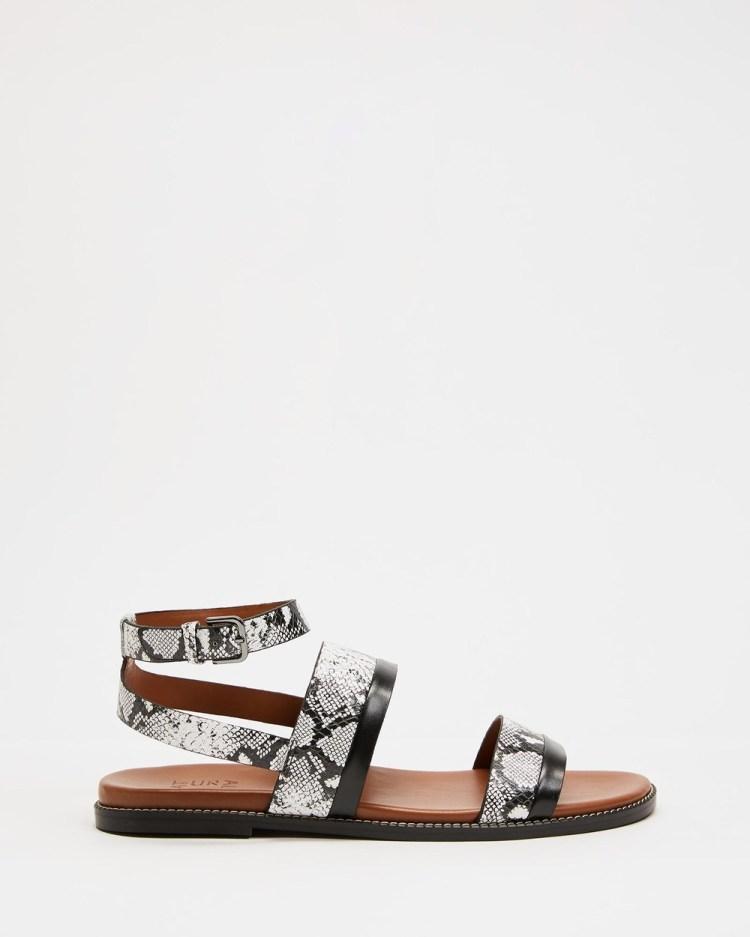 Naturalizer Kelsie Ankle Strap Sandal Sandals Black & White Snake