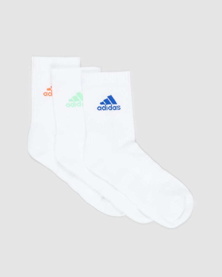 adidas Performance 3 Pack Cushioned Crew Socks Unisex Top White, Solar Red & Screaming Green 3-Pack