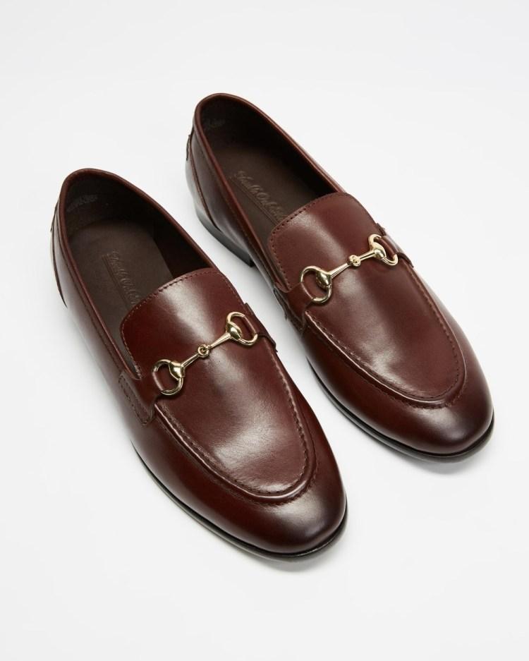 Double Oak Mills Garnet Leather Loafers Dress Shoes Brown
