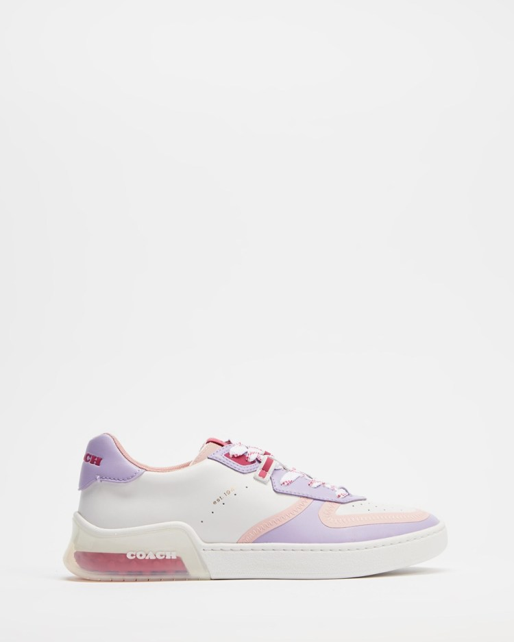 Coach City Sole Leather Court Sneakers Optic White & Lilac
