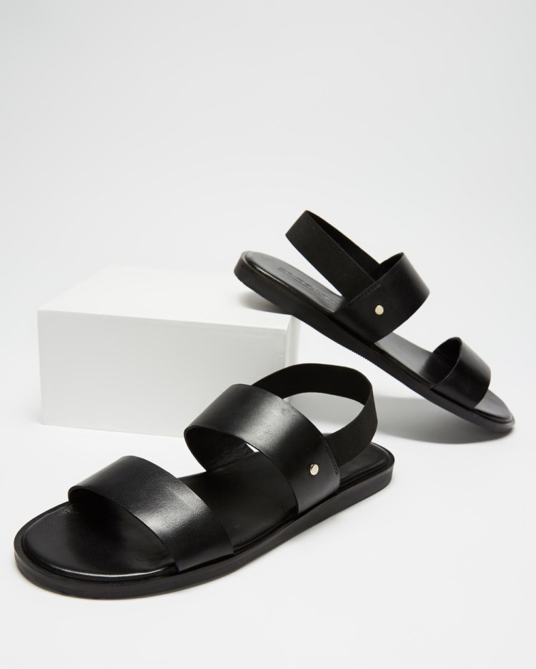 Double Oak Mills Mathers Leather Sandals Casual Shoes Black