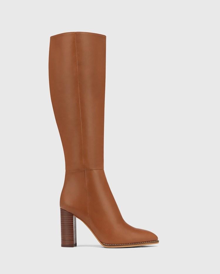 Wittner Hensley Leather Block Heel Long Boots Knee-High Tan