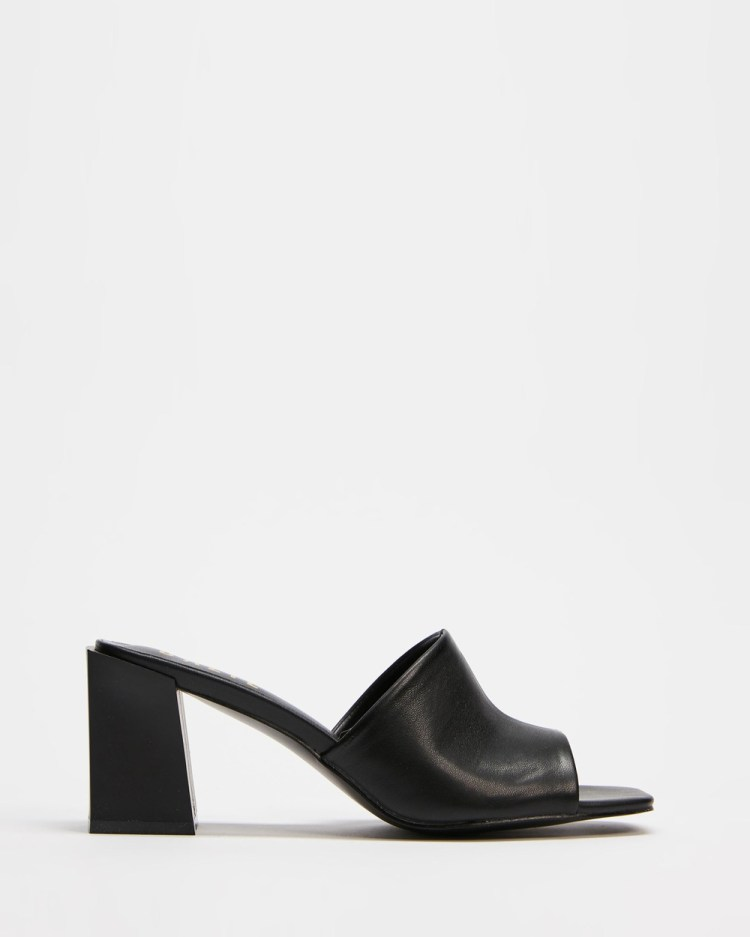 Dazie Crescent Mules Heels Black Smooth