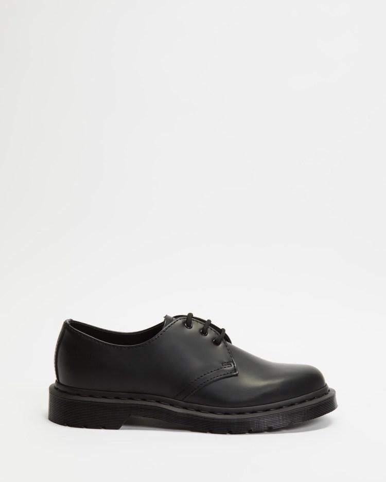 Dr Martens 1461 Mono 3 Eye Shoes Unisex Casual Black Smooth 3-Eye