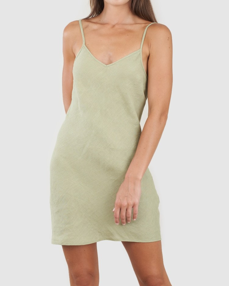 Amelius Grace Linen Mini Dress All gift sets Green