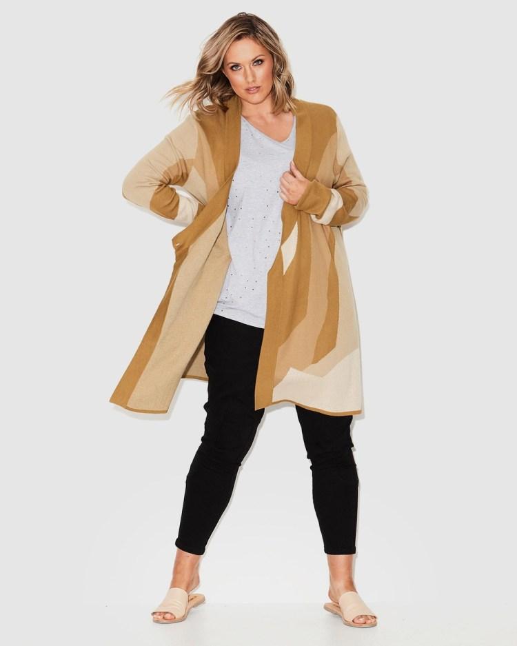 17 Sundays Retrograde Knit Coat Jumpers & Cardigans Gold