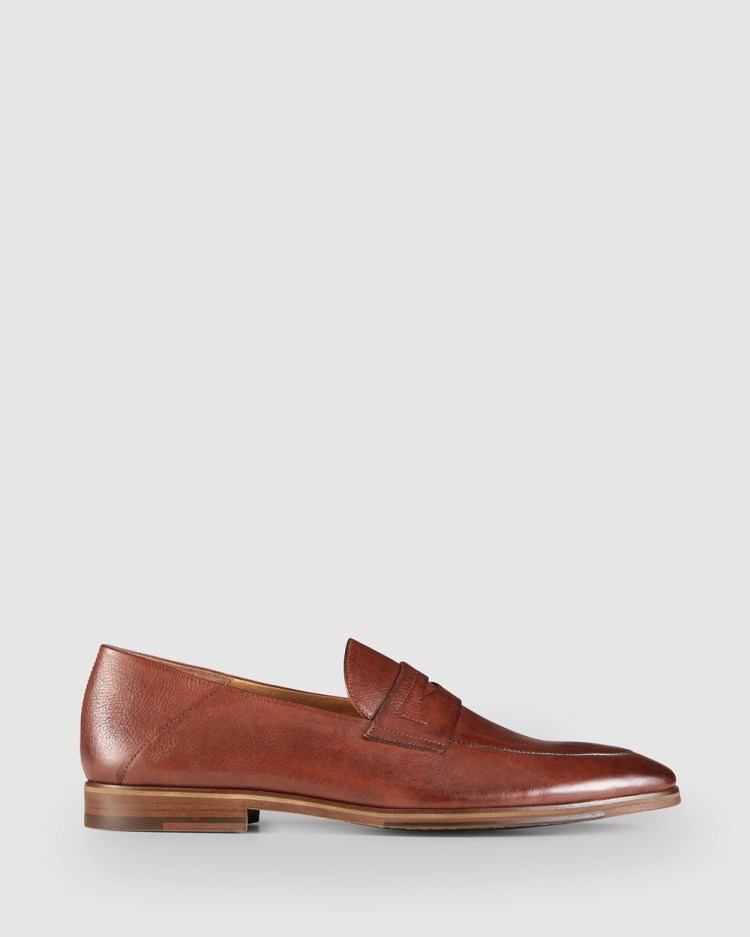 Aquila Fernando Penny Loafers Dress Shoes Tan