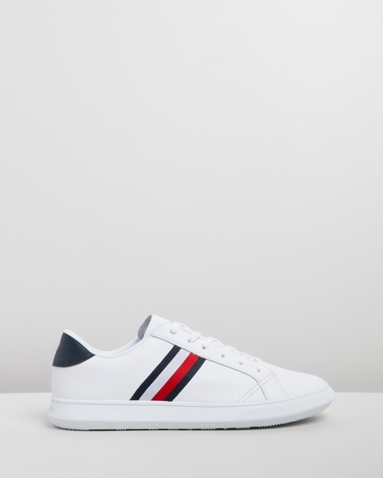 Tommy Hilfiger Essential Leather Cupsole Sneakers White & Midnight