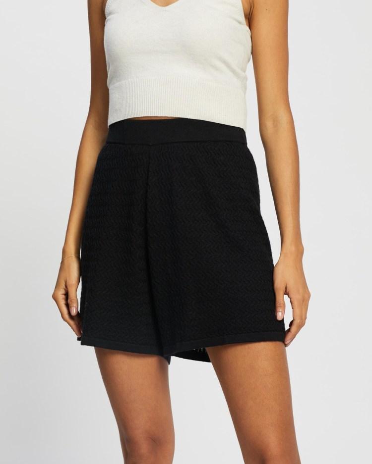 AERE Cutwork Shorts High-Waisted Black