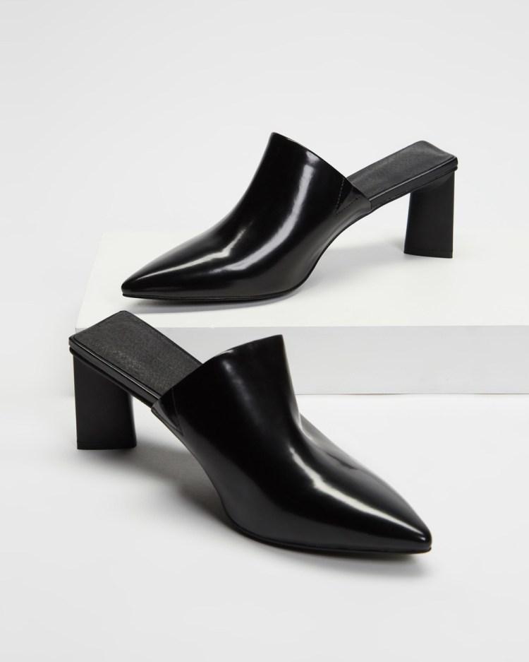 AERE Pointed Toe Leather Mule Heels Mid-low heels Black Box Leather