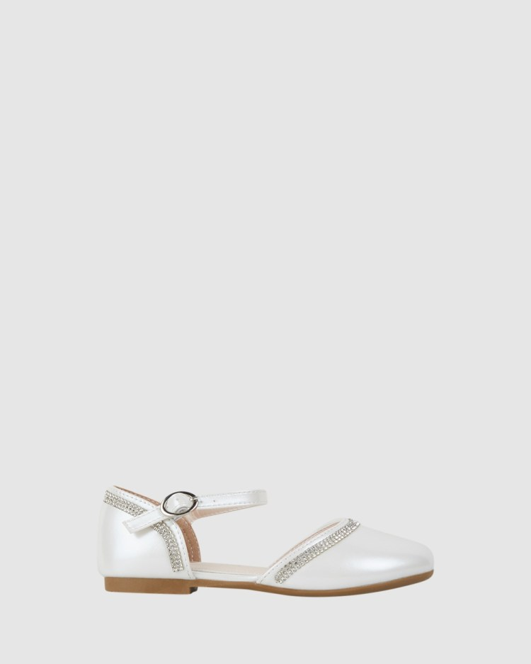 Candy Collette Sparkle Flats White Pearl