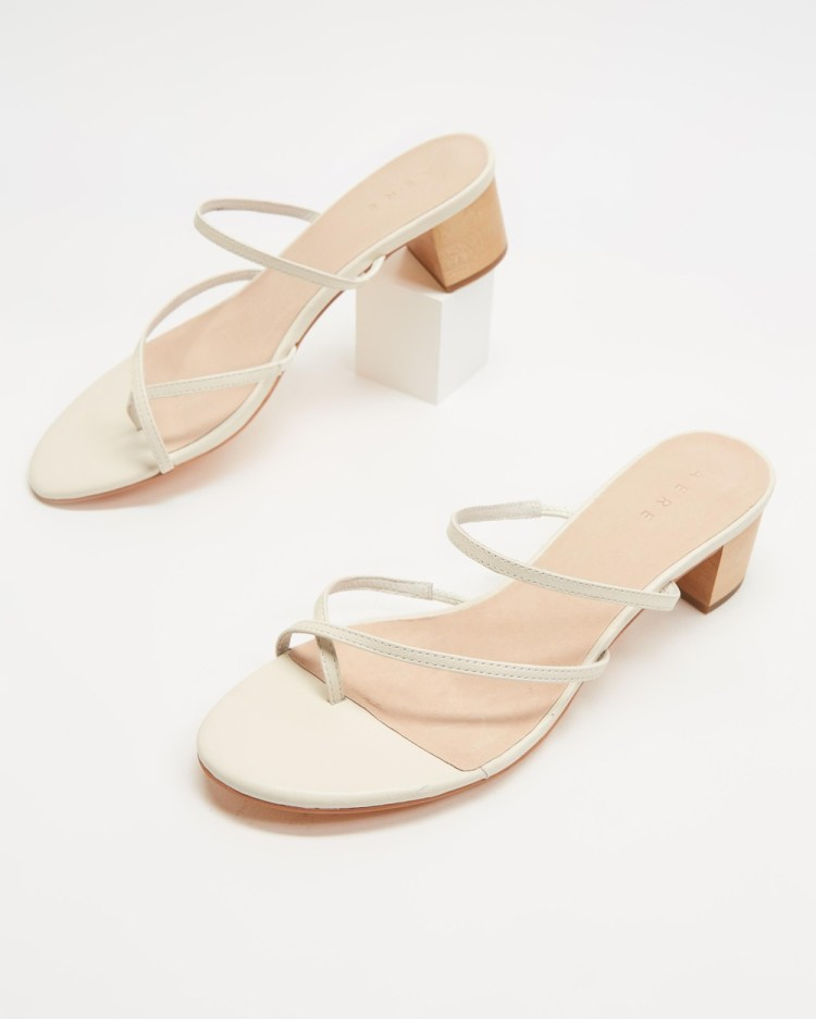 AERE Crossover Toe Post Leather Heels Shoes Cream Leather