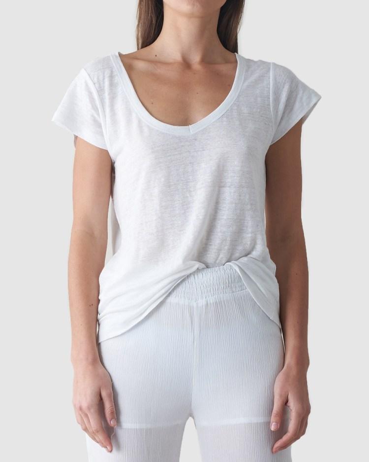 Amelius Newport Linen T Shirt T-Shirts & Singlets White T-Shirt