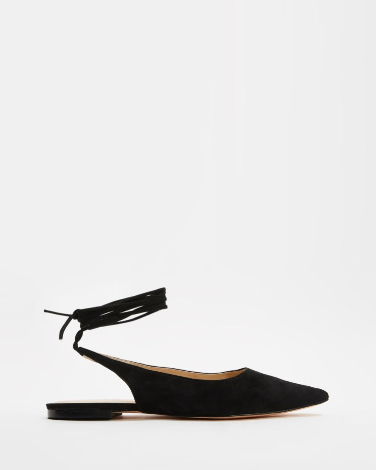 Atmos&Here Kir Leather Ankle Tie Flats Sandals Black Suede