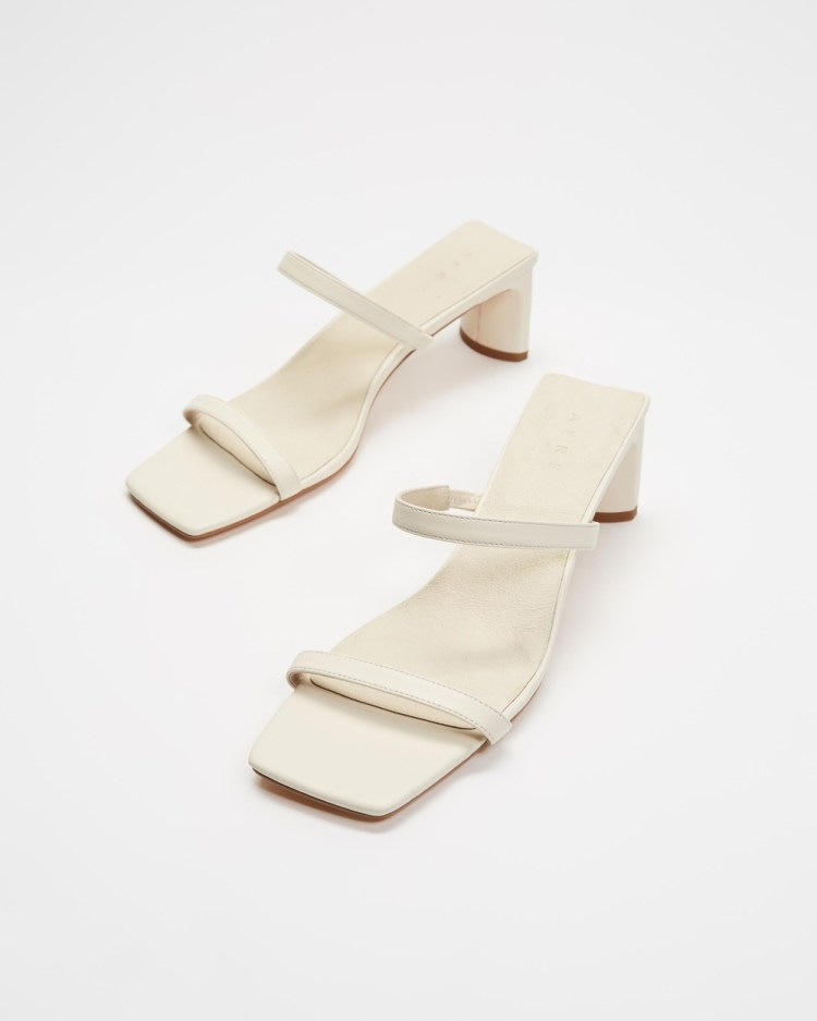 AERE Double Strap Leather Mule Heels Shoes Cream Leather
