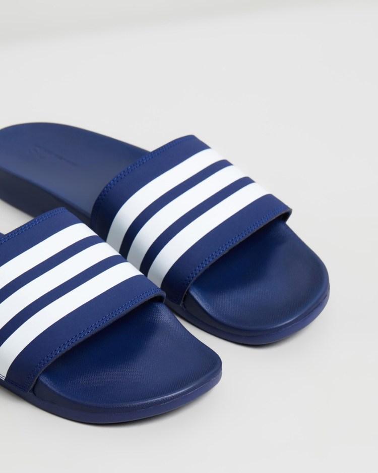 adidas Performance Adilette Comfort Slides Mens Dark Blue & Feather White