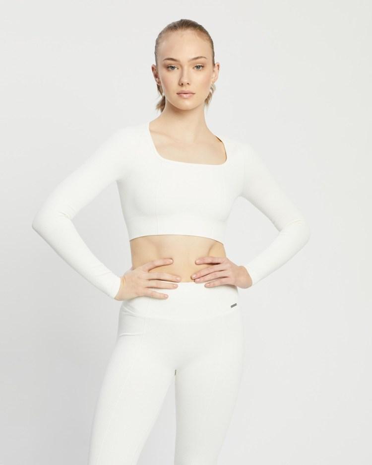 Aim'n Luxe Seamless Crop Long Sleeve Tops Off-White