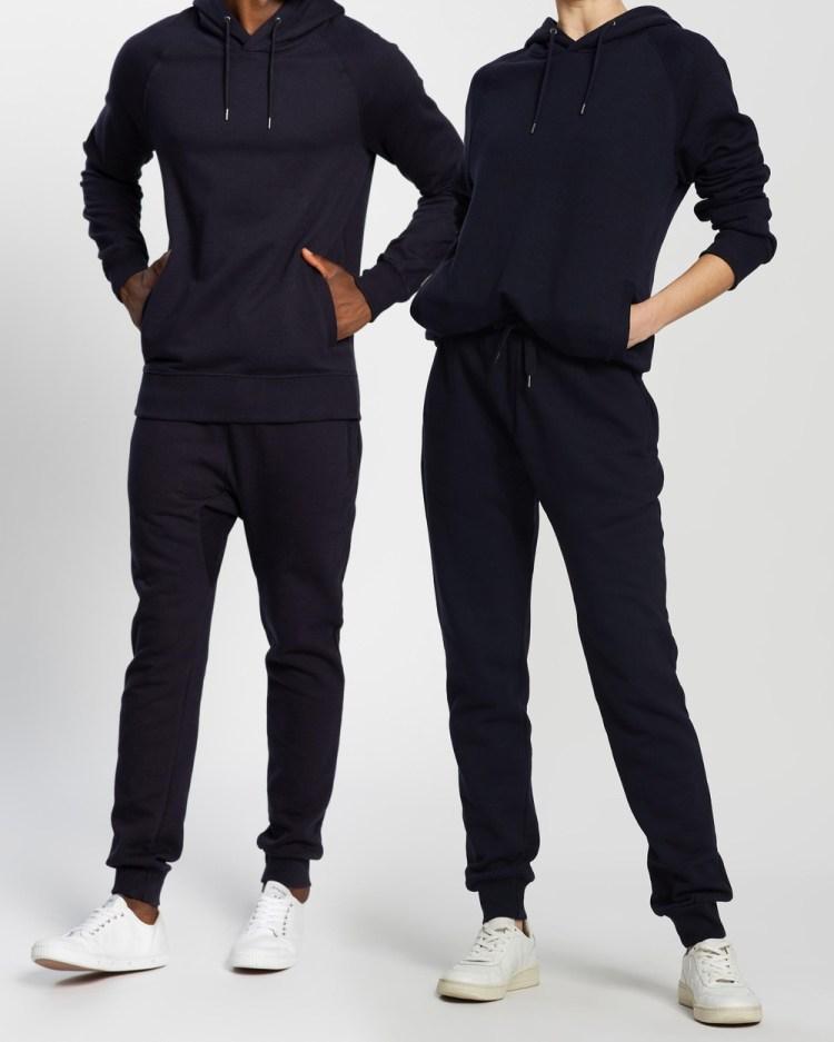 AERE Organic Cotton Hooded Sweat Hoodies Navy