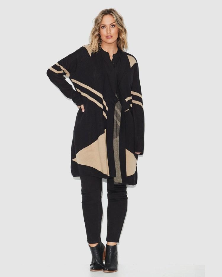 17 Sundays Geo Jaquard Knit Coat Jumpers & Cardigans Multi