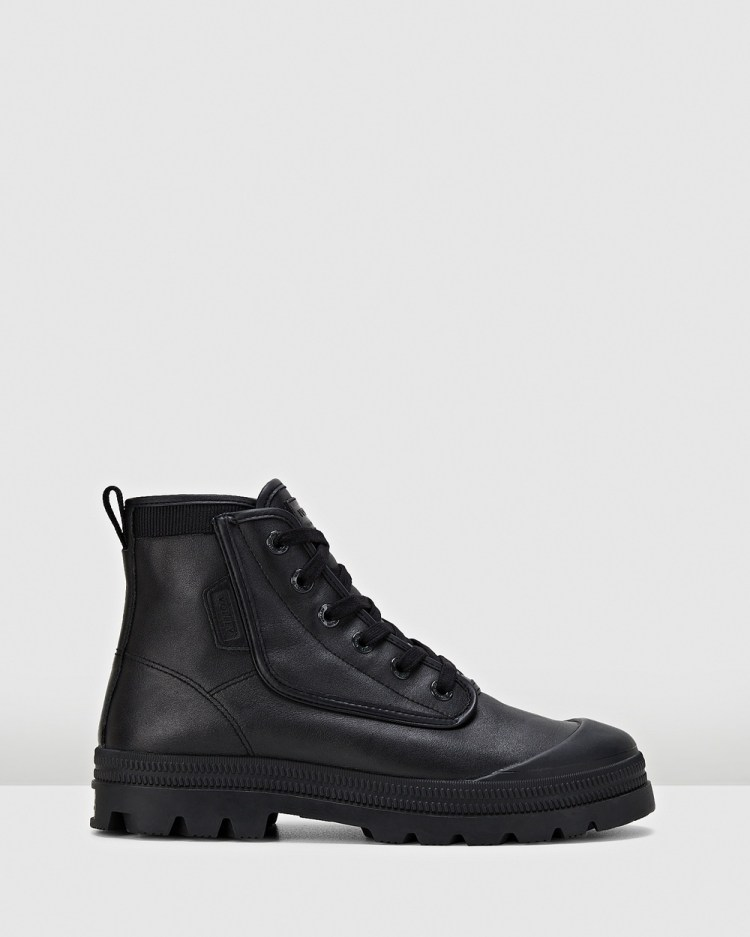 Volley Overgrip Leather Boots Black Leather